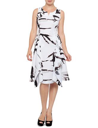 Image for Sleeveless Brush Print Dress from StoreName