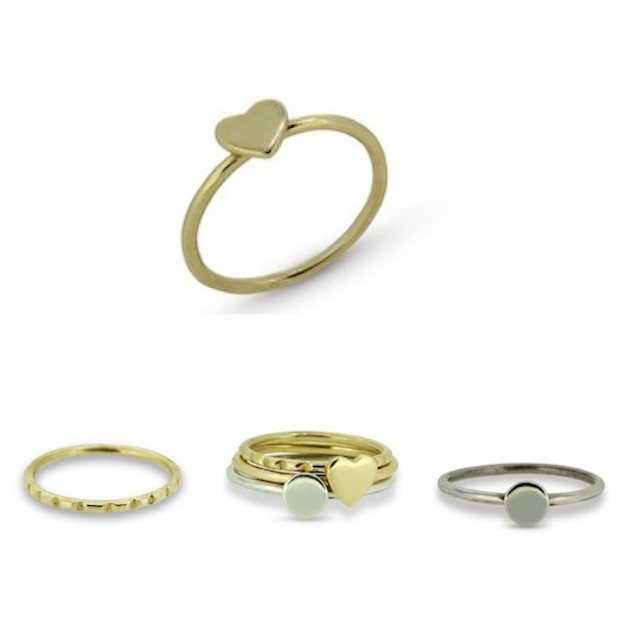 garland row bespoke jewellery dainty stack heart circle rings