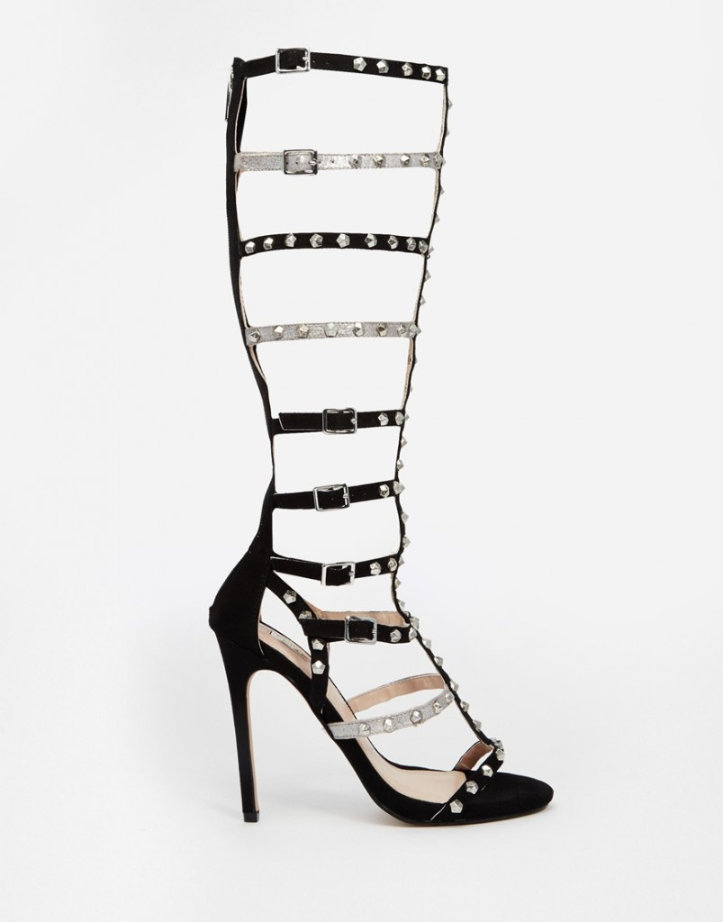 Carvela Guilt High Leg Gladiator Leather Heeded Sandal $380.00