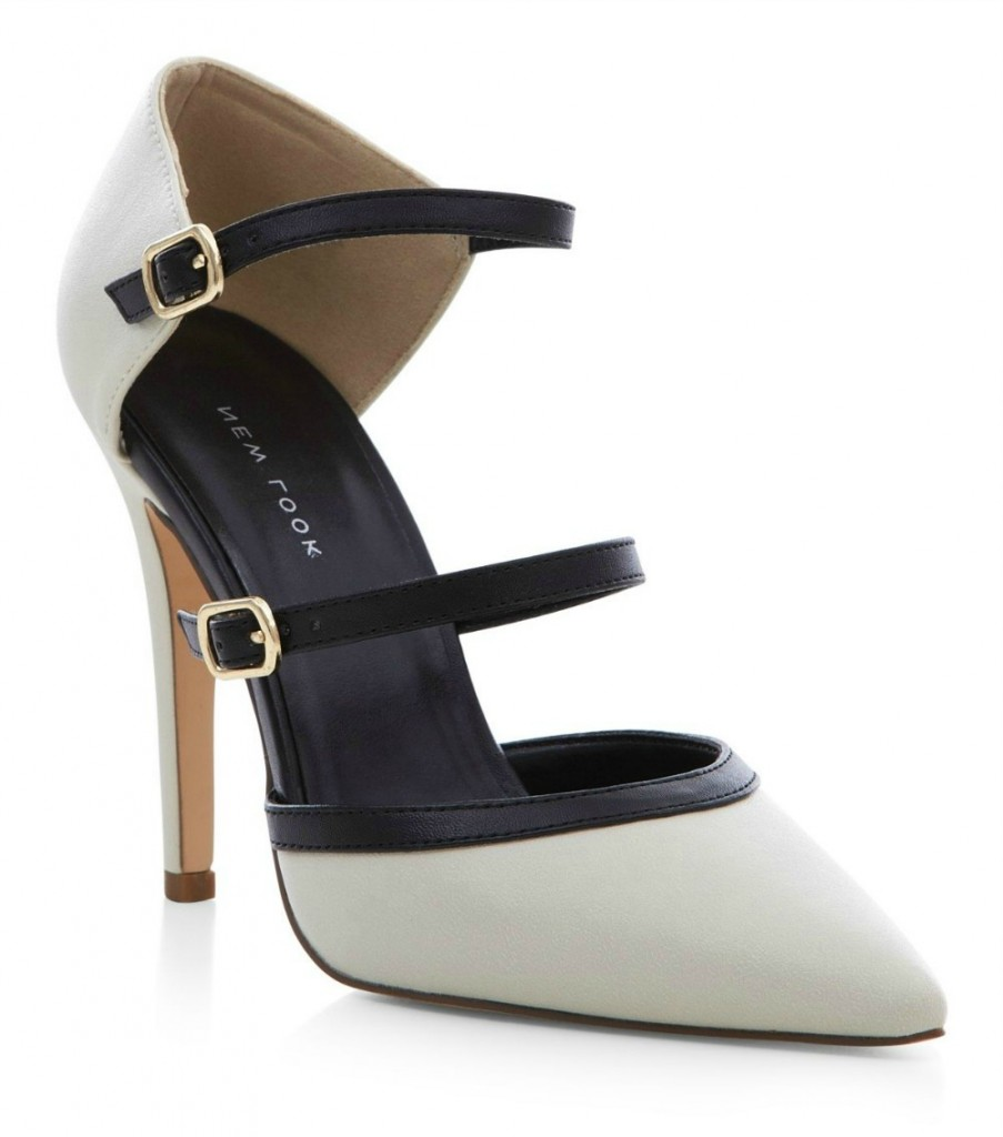 New Look Monochrome Suedette Strappy Front Pointed Heels $46