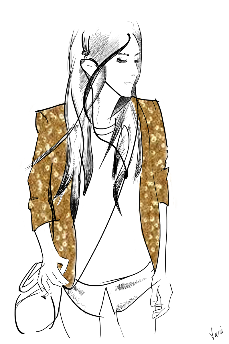 Vari Longmuir Illustration - Gold Sequin Jacket