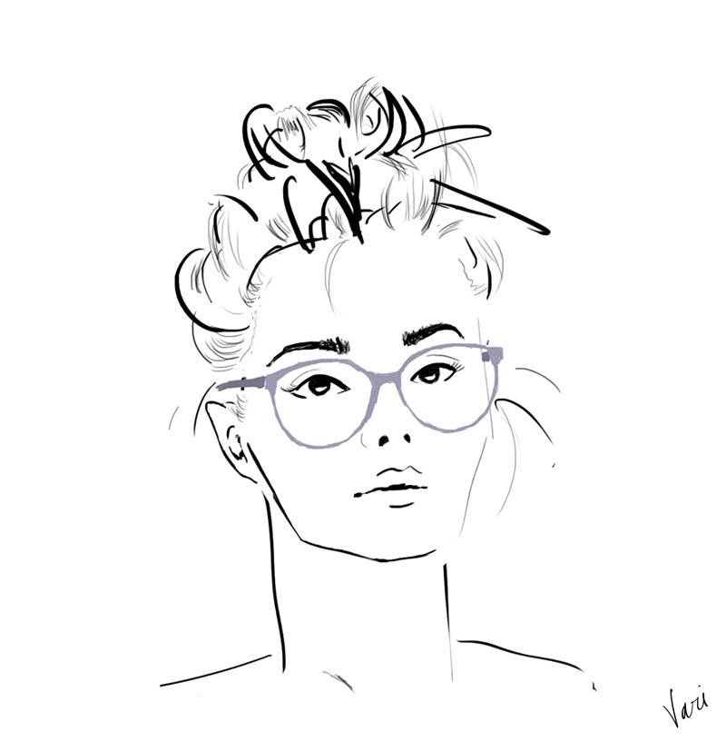 Vari Longmuir Illustration - Top Knot and Glasses Girl